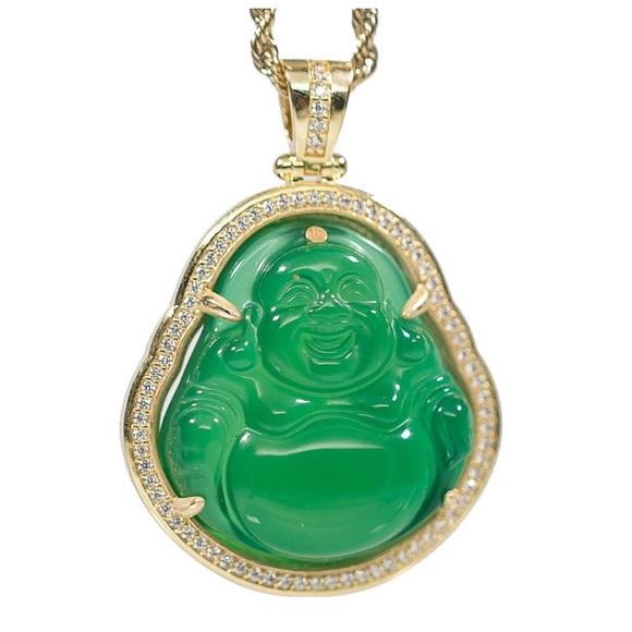 34f1b2c5494813 Street Knitted Accessories | Mini Gold Green Jade Buddha Necklace ...